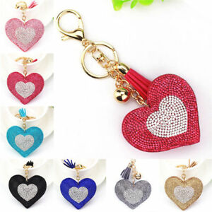 Love Heart Crystal Key Chain Keyring Handbag Charm Tassel Bag Ring
