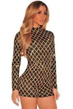 New Ladies Holiday Sassy Black And Gold Romper