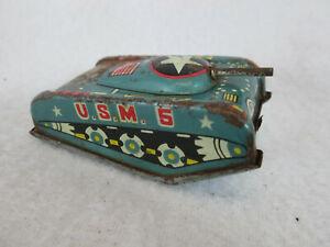 Vintage 1960's tin toy friction tank U.S.M. 5 Japan