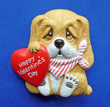 BUY1&GET1@50%~Enesco/Morgan PIN Valentines ❤️ DOG BASSET HOUND HEART Vtg Holiday