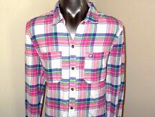 Gilly Hicks Pink White Blue Green Plaid Flannel Shirt * Women's Medium
