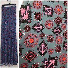 LuLaRoe SILKY denim Blue Southwestern Maxi Skirt Strapless Dress SZ SMALL CC243