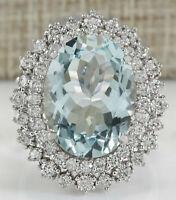 9.68 Carat Natural Aquamarine 14K White Gold Diamond Ring