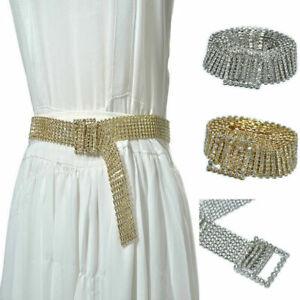 Women Shiny Belt Waist Chain Crystal Diamond Waistband Silver Rhinestone Belt