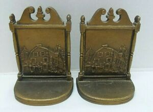 Antique B&H Bradley Hubbard Bronze Bookends OLD MANSE House Emerson Hawthorne