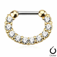Clicker with Cz Gems Ion Plated Gold 16ga Septum