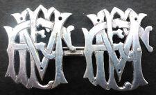 "New listing Sterling Silver 18 Grams Hand Cut Broach Initials ""Fem"" 2 1/4x1 3/8"