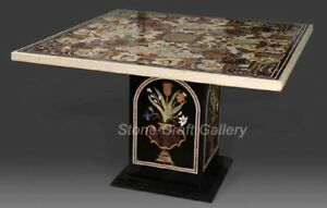 """42"""" Black Marble Coffee Table Semi Precious Stones Inlay With 29"""" Marble Stand"""
