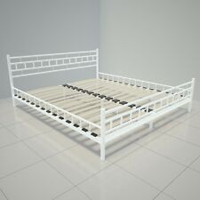 White Metal Bed Frame Super King Size 6 Ft Modern Iron Bedstead Sturdy Deluxe