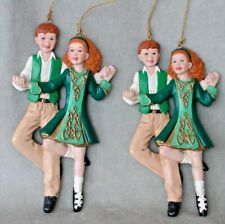 """2 Vintage Christmas ornaments: Irish step dancers. 5"""" by 2 1/2"""", two sided. Mint"""