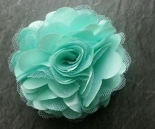 "Girls Womens 3""satin & Net Full Flower Hair Clip, Brooch, corsage Aqua/Mint"