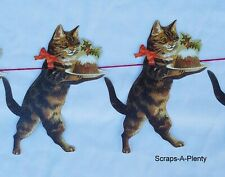 Mamelok  Frieze Garland 10 Die Cut Christmas Cat & Figgy Pudding  9' Cord  R86