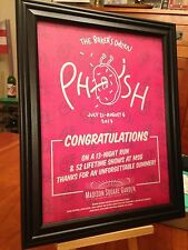 """BIG 10x13 FRAMED PHISH """"LIVE IN NEW YORK MSG JULY & AUG 2017"""" TOUR PROMO AD"""