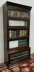 American Antique Style Solid Mahogany Five Stack Lawyer Bookcase Leaded Glass