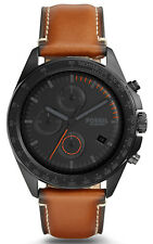 Fossil CH3050 Sport 54 Black Dial Brown Leather Strap Chronograph Men's Watch