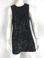 NAVEN Mini Shift Dress Black Faux Leather Sequins Sleeveless Size 4