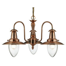 Searchlight 5333-3CU Fisherman Copper 3 Light Ceiling Fitting Glass Shades