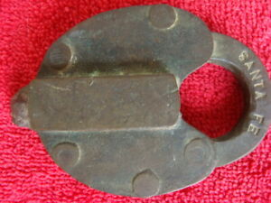 Santa Fe Railroad Brass RR Switch Lock Obsolete Vintage Railway Padlock No KEY