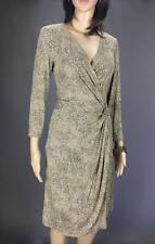 ** SINEQUANONE ** Size 10 Beige Animal Print Occasion Work Wrap Dress - (A476)