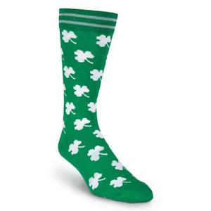 K. Bell Men's 2 prs Crew Socks Shoe Size 6.5-12 Novelty SHAMROCK St. Patrick Day