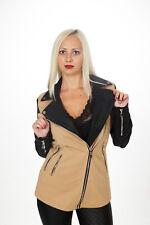 Damen Trench Trenchcoat L 40 beige Kunstleder schhwarz Jacke