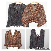 Lot Of Angie BOHO Long Sleeve Peasant Style Cropped Top Women's Small Med Hippie