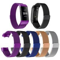 Magnetic Milanese Stainless Steel Watch Band Strap for Fitbit Charge 3 Bracelet