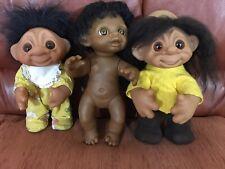 "Family of 3 ""DAM"" Vintage Trolls 1974/1977/1982"