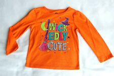 Toddler Girls L/S T-Shirt HALLOWEEN Orange WICKEDLY CUTE Witch Hat Broom 3T