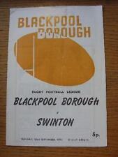 22/09/1974 programma Rugby League: Blackpool Borough V Swinton (piegato, SQUADRA Cha