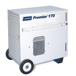 LB White Premier 170DF Heater 170k BTUH, Dual Fuel LP/NG, w/Thermostat, Hose,Reg