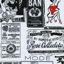 Timeless Treasures Deco Fashion Vintage Advertising Collage Fabric in Black