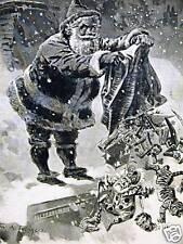 ROGERS CHRISTMAS SANTA POLITICS 1894 Antique Art Matted