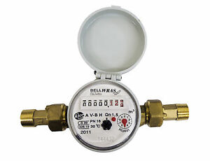"""WRAS Approved Single-Jet Cold Water Meter 1/2"""" BSP (15mm) with Pulse Option"""