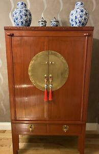 Exquisite Antique Red Lacquer Chinese Wedding Cabinet