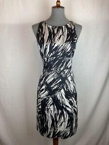 Ann Taylor Women's 8 Pencil Dress Silk Black White Sleeveless Career