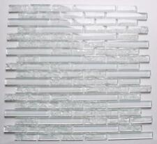 1 Sheet Clear Crackle and Plain Glass Mosaic Wall Tile Sheet MT0140