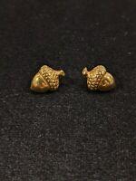 Vintage Gold Tone Acorn Stud Earrings 14549