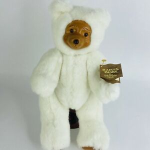 """Vintage White Robert Raikes Bear Terry with Tag 11"""" Tall Number 17010"""