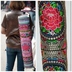 NEW YOGA PILATE BAG MAT HMONG CARRIER EXERCISE STRAP EMBROIDERED CHRISTMAS GIFT