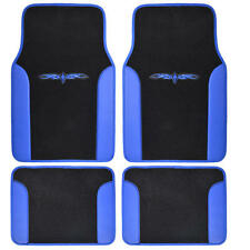 4PCS Set BDK Car Carpet Floor Mats Black Blue Extra Thick Carpet & Backing