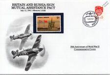 Signo de la segunda guerra mundial 1941 Gran Bretaña & Rusia pacto de asistencia mutua Sello Cubierta/Danbury Mint