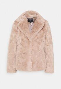 Dorothy Perkins Reverse Collar Textured Faux Fur Lined Coat Mink Beige Size 12