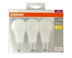 3er Pack OSRAM E27 LED Lampe Birne Glühbirne 14Watt wie 100Watt Warmweiß 2700K