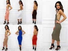 Clubwear Regular Size Dresses Backless
