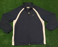 Vintage Nike Check Windbreaker Jacket Sz Mens Large Gray Tag Navy Blue And White