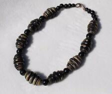 GERDA LYNGGAARD for MONIES Denmark Carved Horn Beads Fashion Statement Necklace