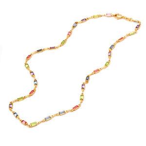 """Sevil 18K Gold Plated Colorful Crystal Baguette Necklace  18"""" Length"""