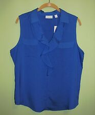 NWT New York & Company Blue Sleeveless Ruffle Blouse Top Size L