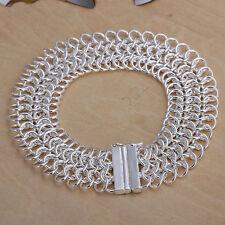 Damenarmband Flecht Glieder Armband 20cm | 18mm breit pl. mit Sterlingsilber Neu
